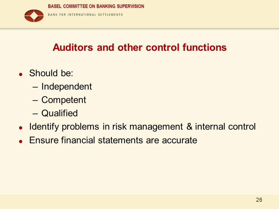Auditors and other control functions