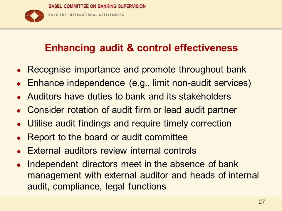 Enhancing audit & control effectiveness