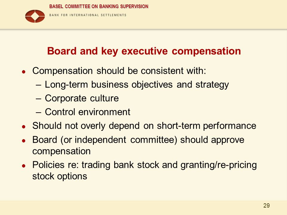 Board and key executive compensation