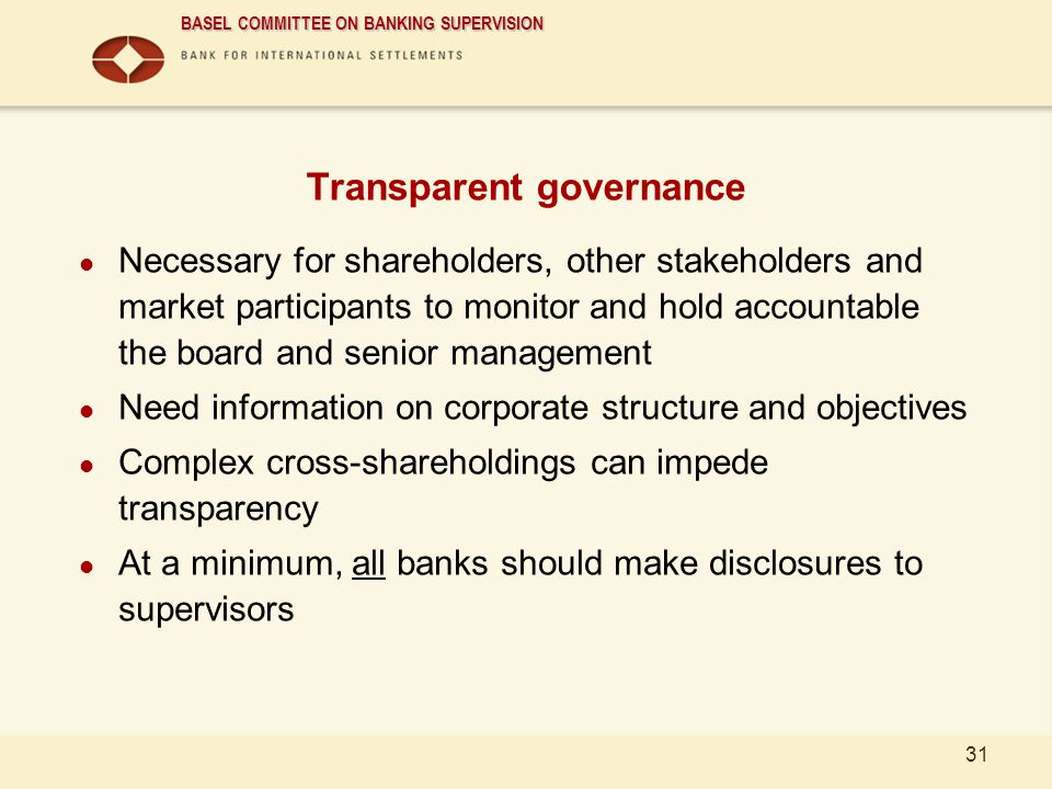 Transparent governance