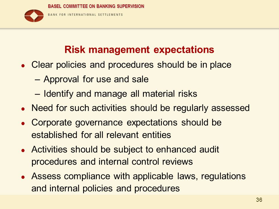 Risk management expectations