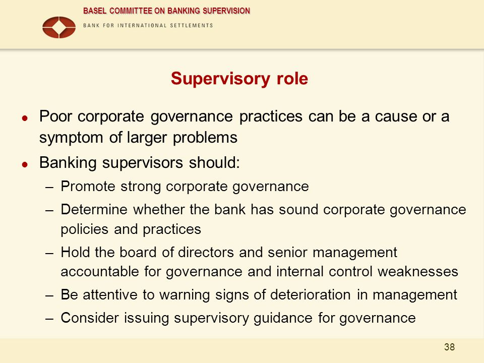 01/04/2017 Supervisory role. Poor corporate governance practices can be a cause or a symptom of larger problems.