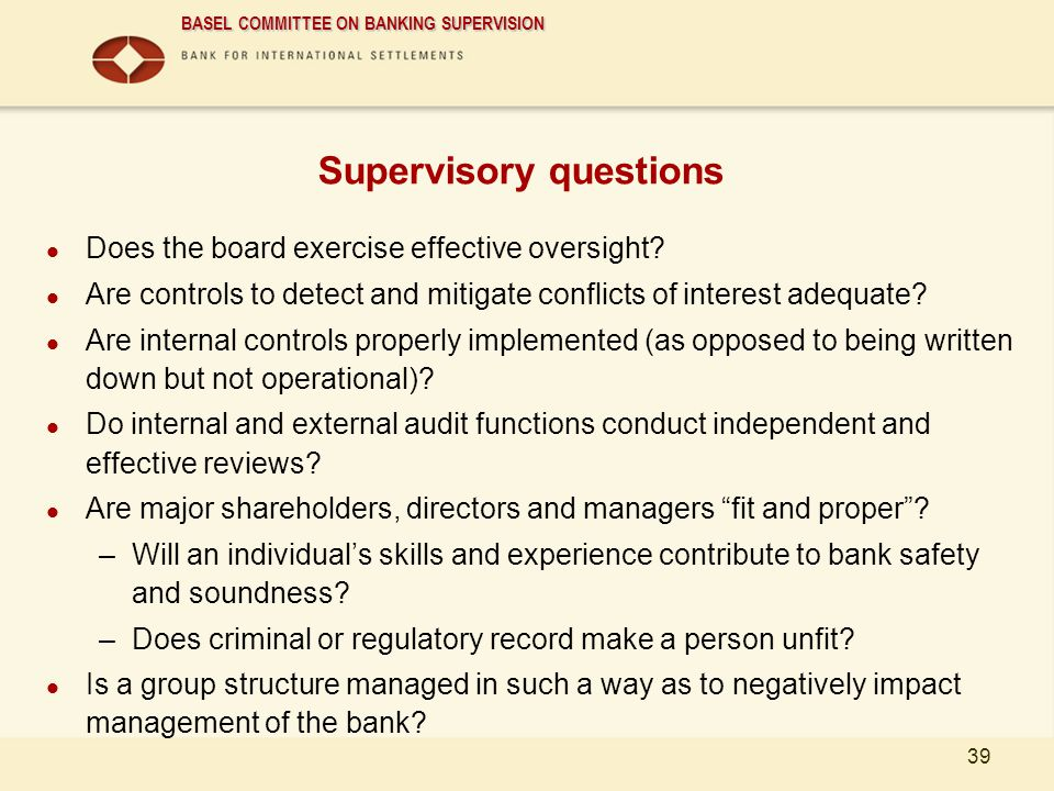 Supervisory questions