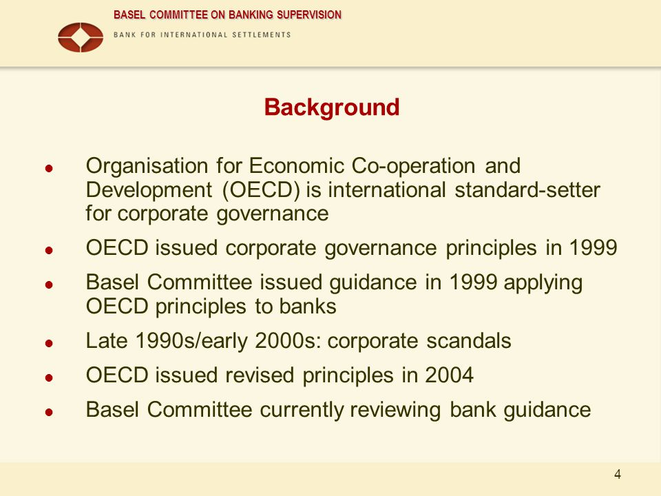 01/04/2017 Background. Organisation for Economic Co-operation and Development (OECD) is international standard-setter for corporate governance.