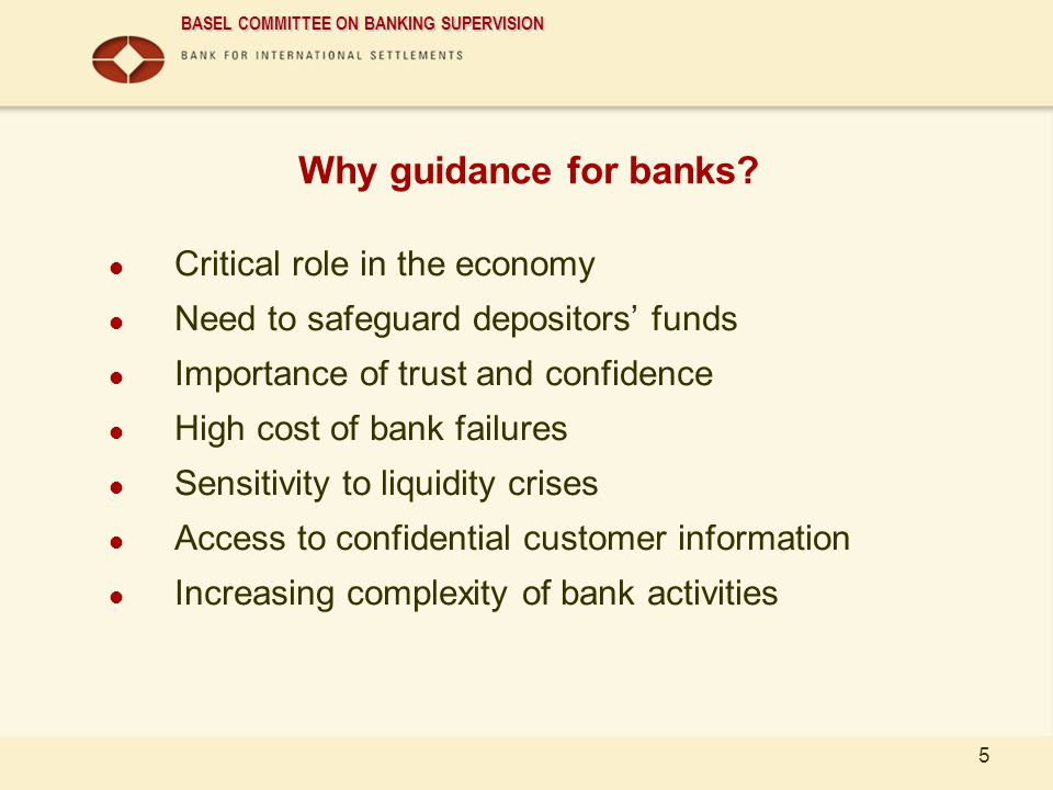 Why guidance for banks Critical role in the economy