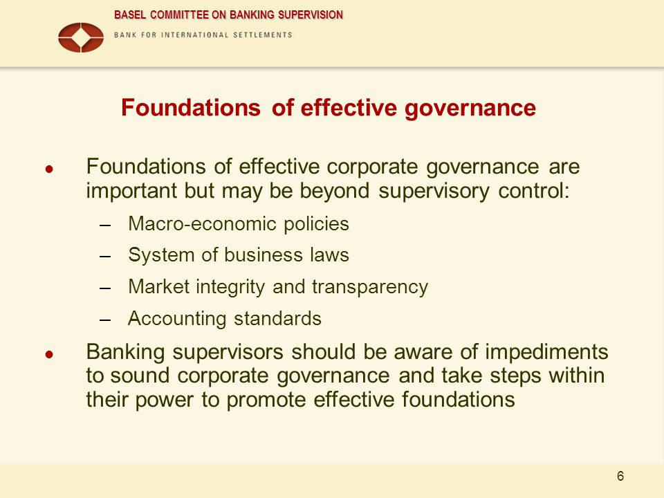 Foundations of effective governance
