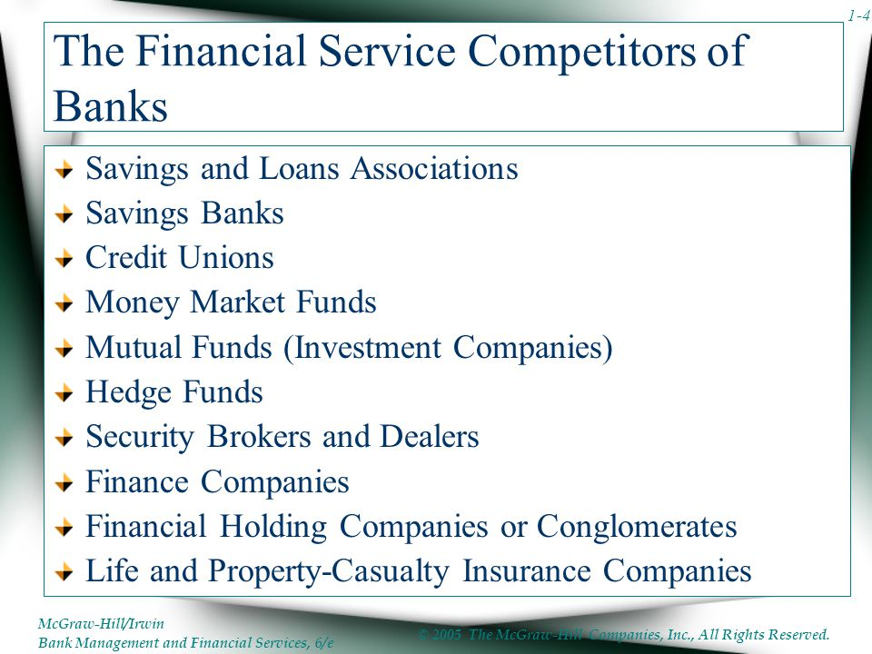 The Financial Service Competitors of Banks