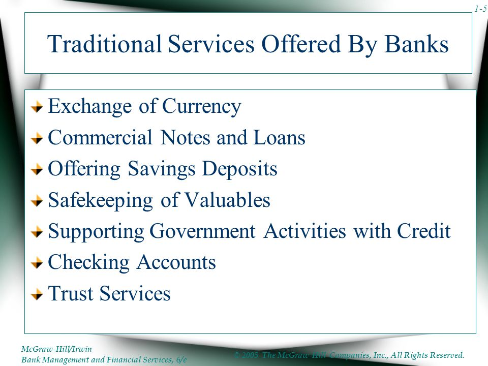 Traditional Services Offered By Banks