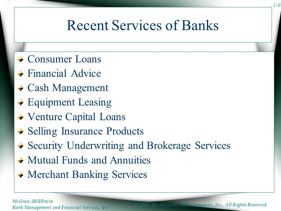 Recent Services of Banks