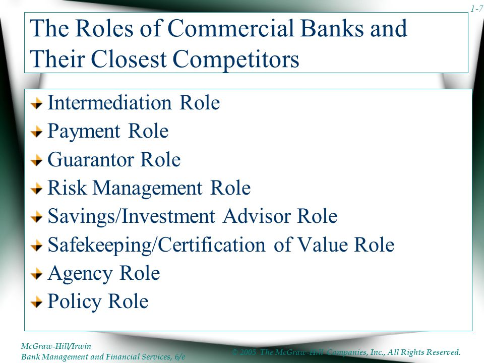 The Roles of Commercial Banks and Their Closest Competitors