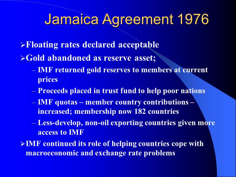 Jamaica Agreement 1976 Floating rates declared acceptable