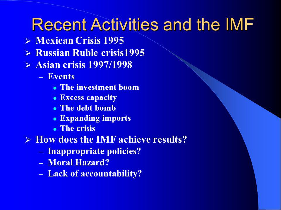 Recent Activities and the IMF
