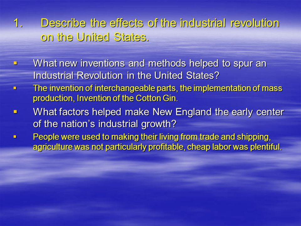 1. Describe the effects of the industrial revolution on the United States.