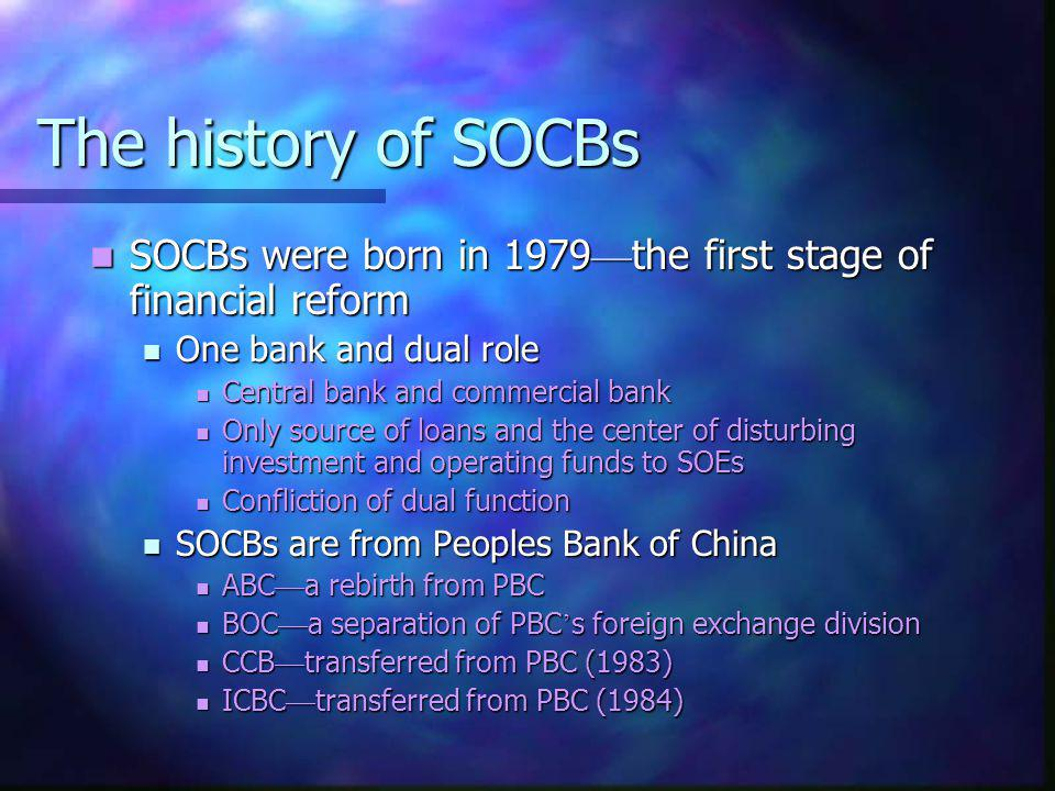 The history of SOCBs SOCBs were born in 1979—the first stage of financial reform. One bank and dual role.