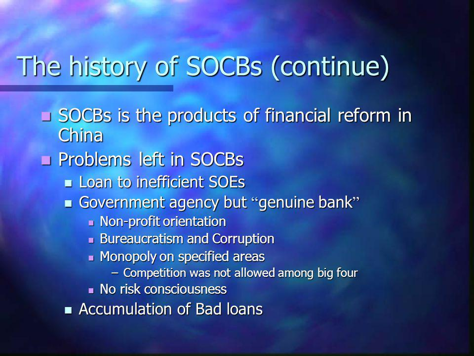 The history of SOCBs (continue)