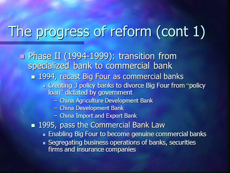 The progress of reform (cont 1)