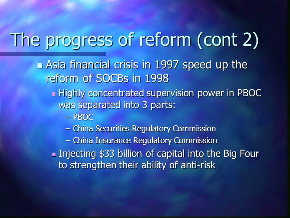 The progress of reform (cont 2)