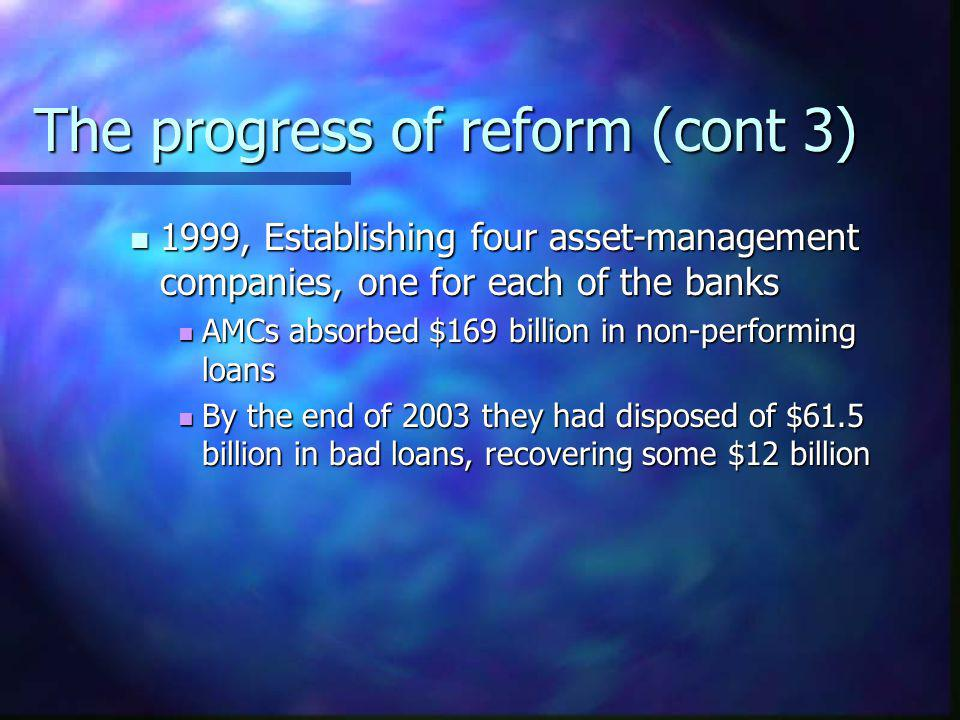 The progress of reform (cont 3)