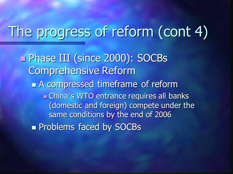The progress of reform (cont 4)