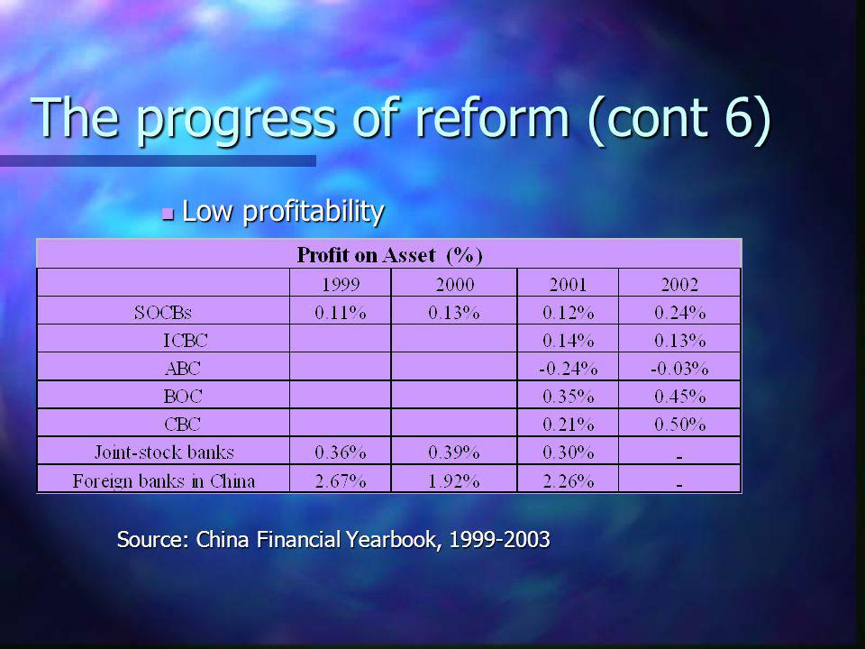 The progress of reform (cont 6)