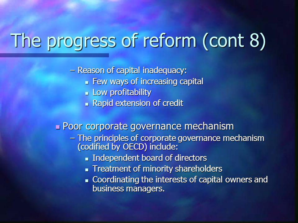The progress of reform (cont 8)