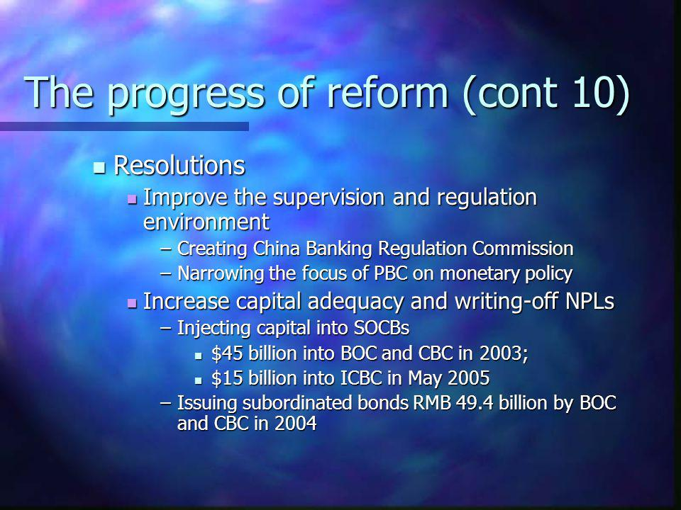 The progress of reform (cont 10)