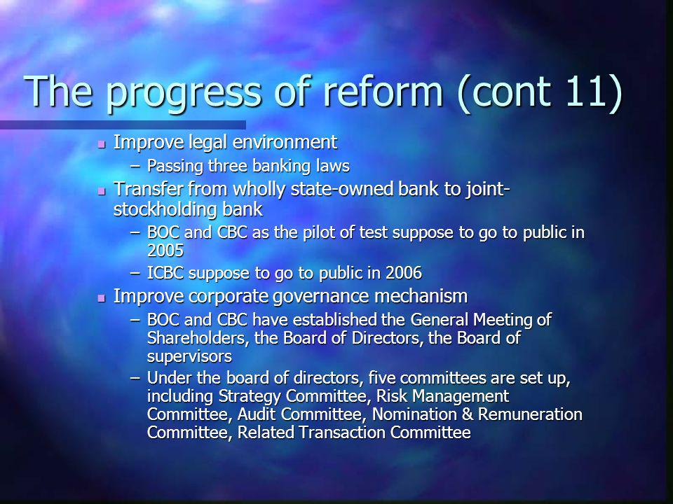 The progress of reform (cont 11)