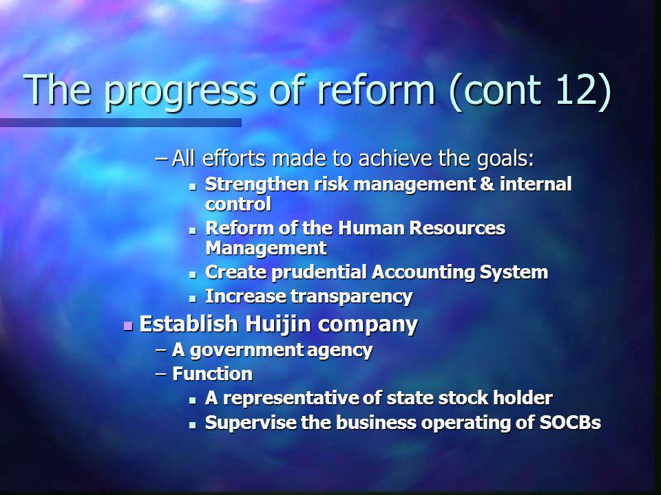 The progress of reform (cont 12)