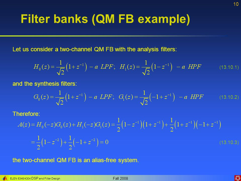 Filter banks (QM FB example)
