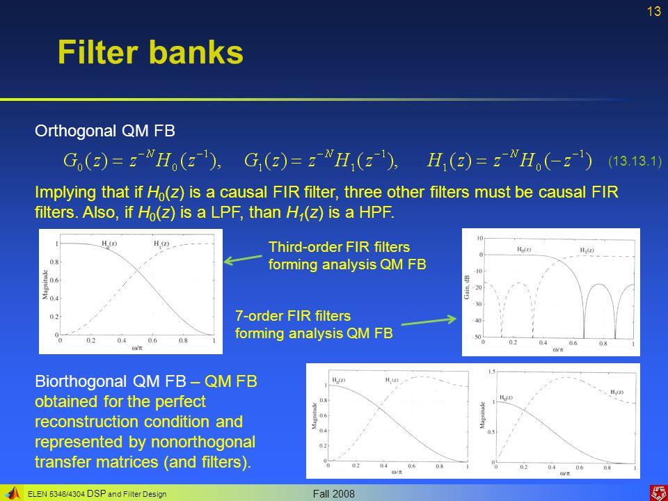 Filter banks Orthogonal QM FB