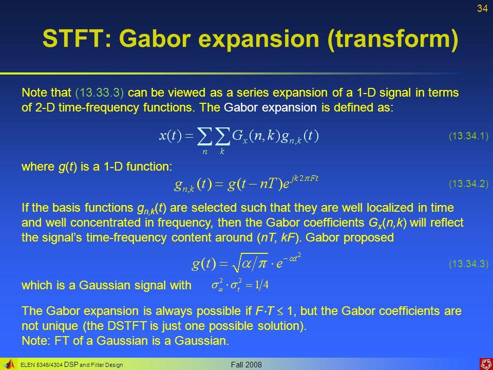 STFT: Gabor expansion (transform)