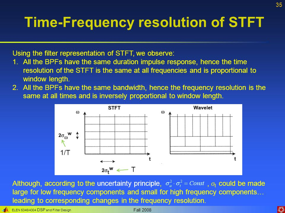 Time-Frequency resolution of STFT