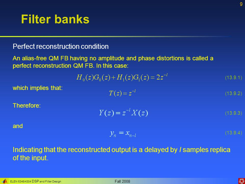 Filter banks Perfect reconstruction condition