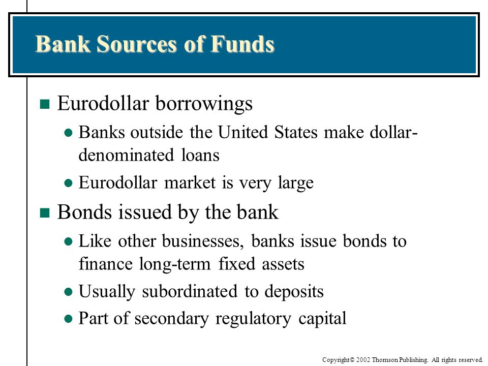 Bank Sources of Funds Eurodollar borrowings Bonds issued by the bank