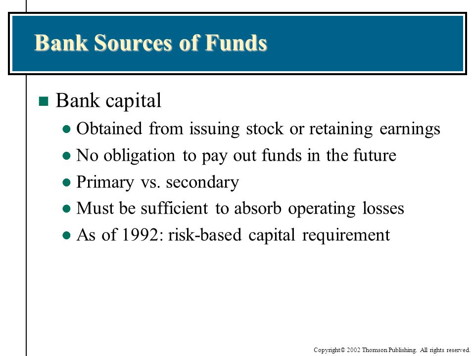 Bank Sources of Funds Bank capital