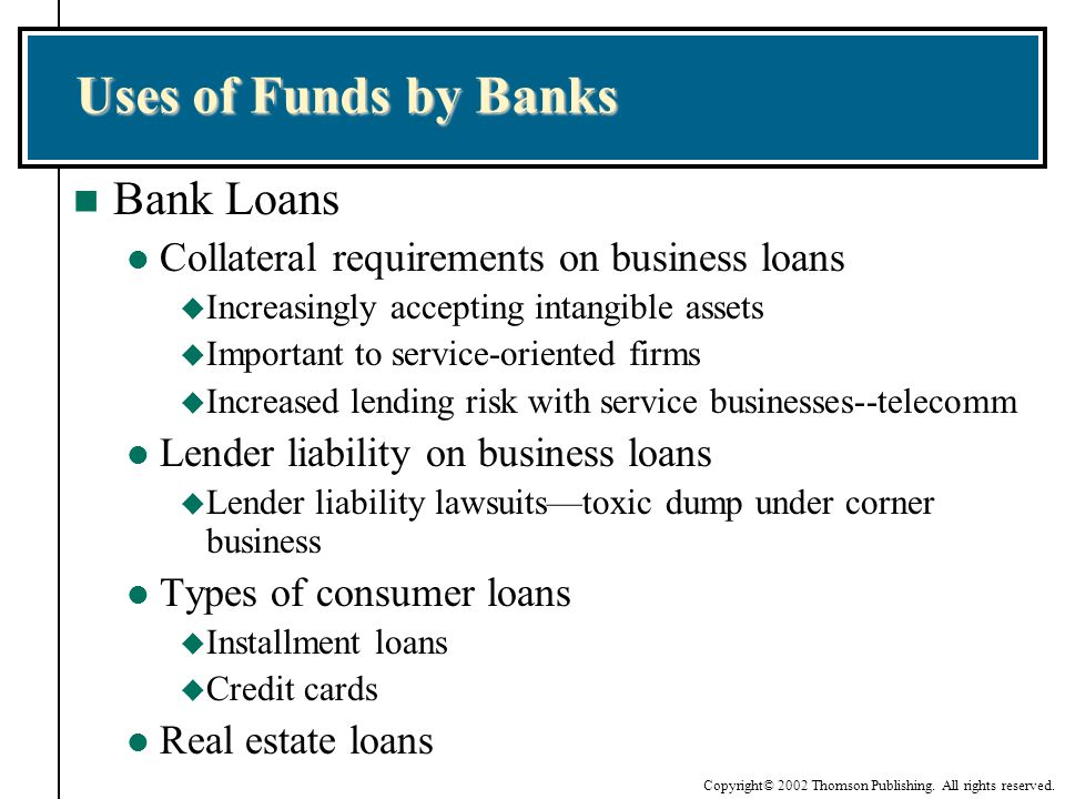 Uses of Funds by Banks Bank Loans
