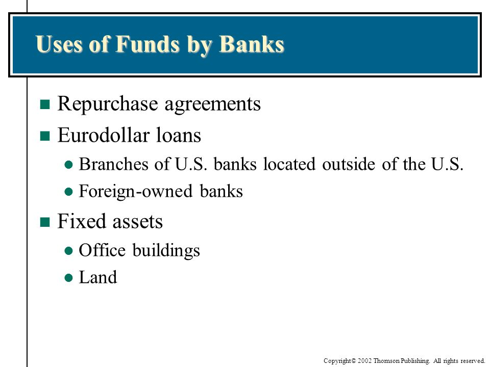 Uses of Funds by Banks Repurchase agreements Eurodollar loans