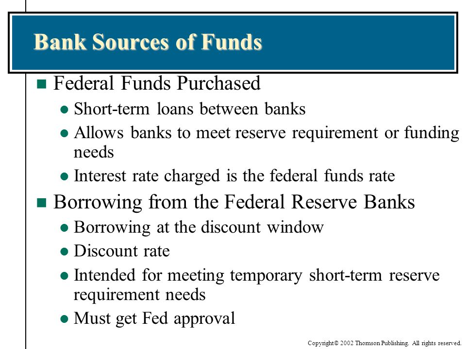 Bank Sources of Funds Federal Funds Purchased