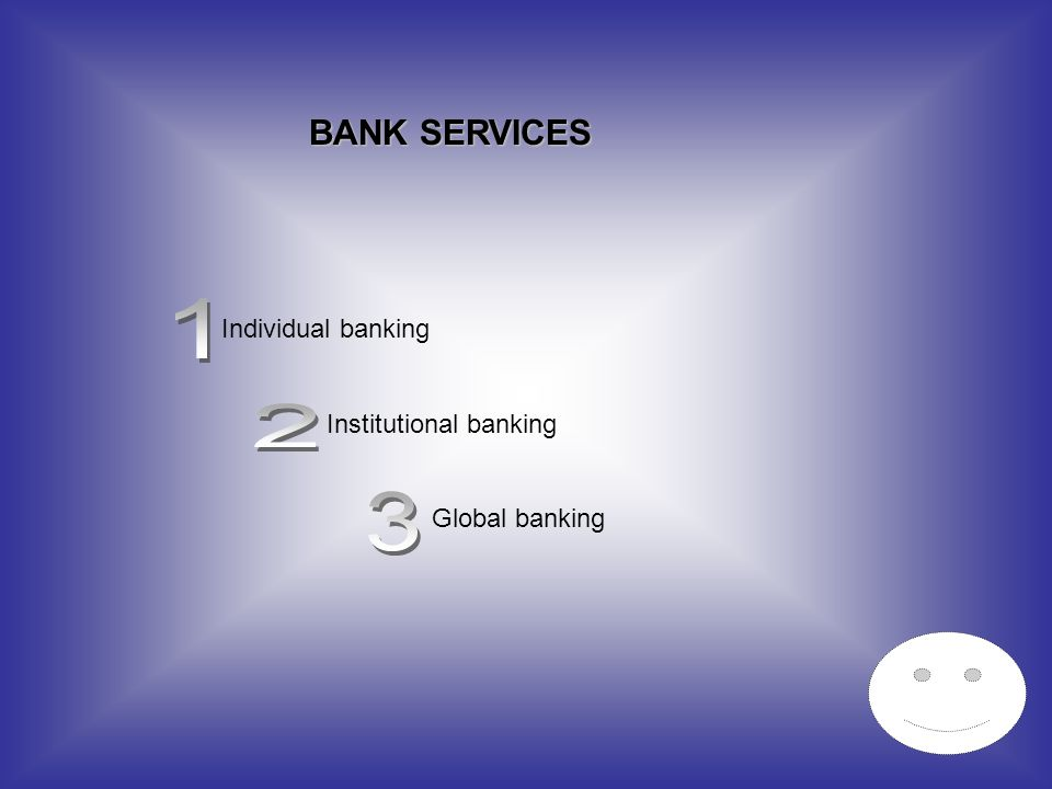1 2 3 BANK SERVICES Individual banking Institutional banking