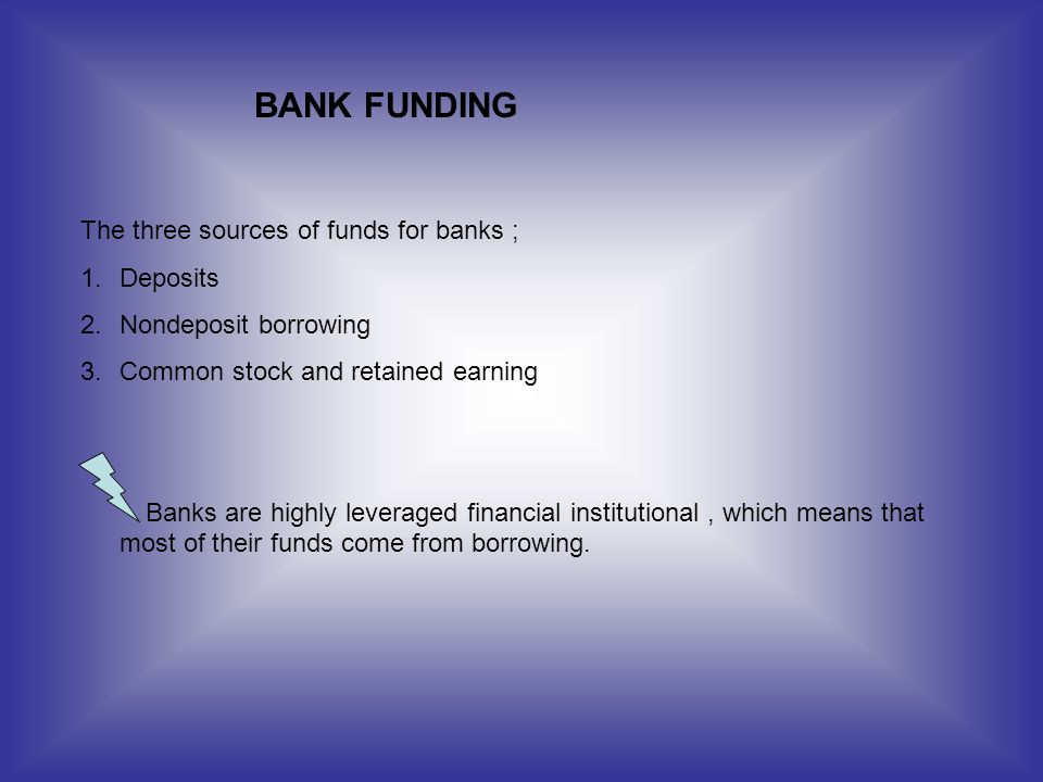 BANK FUNDING The three sources of funds for banks ; Deposits