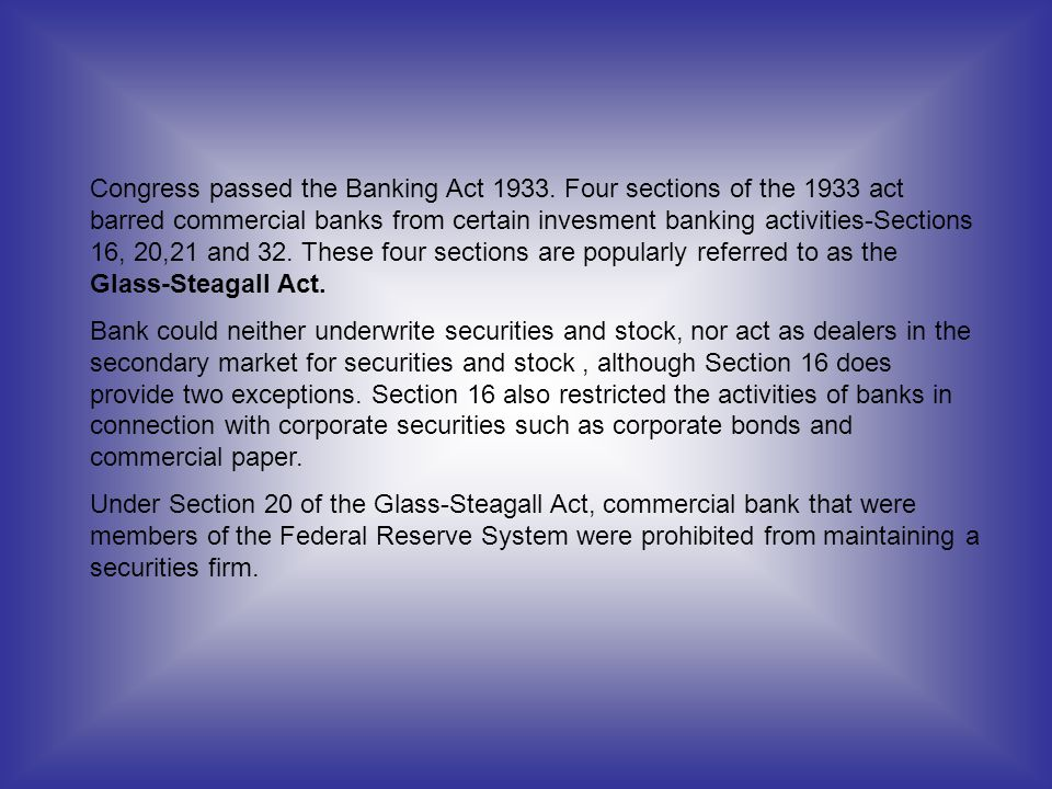 Congress passed the Banking Act 1933