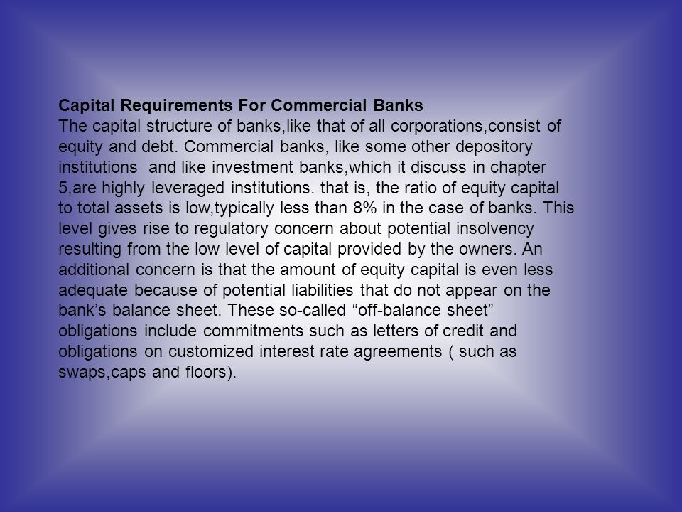 Capital Requirements For Commercial Banks