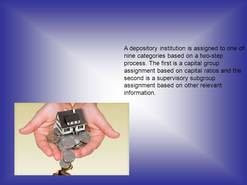 A depository institution is assigned to one of nine categories based on a two-step process.
