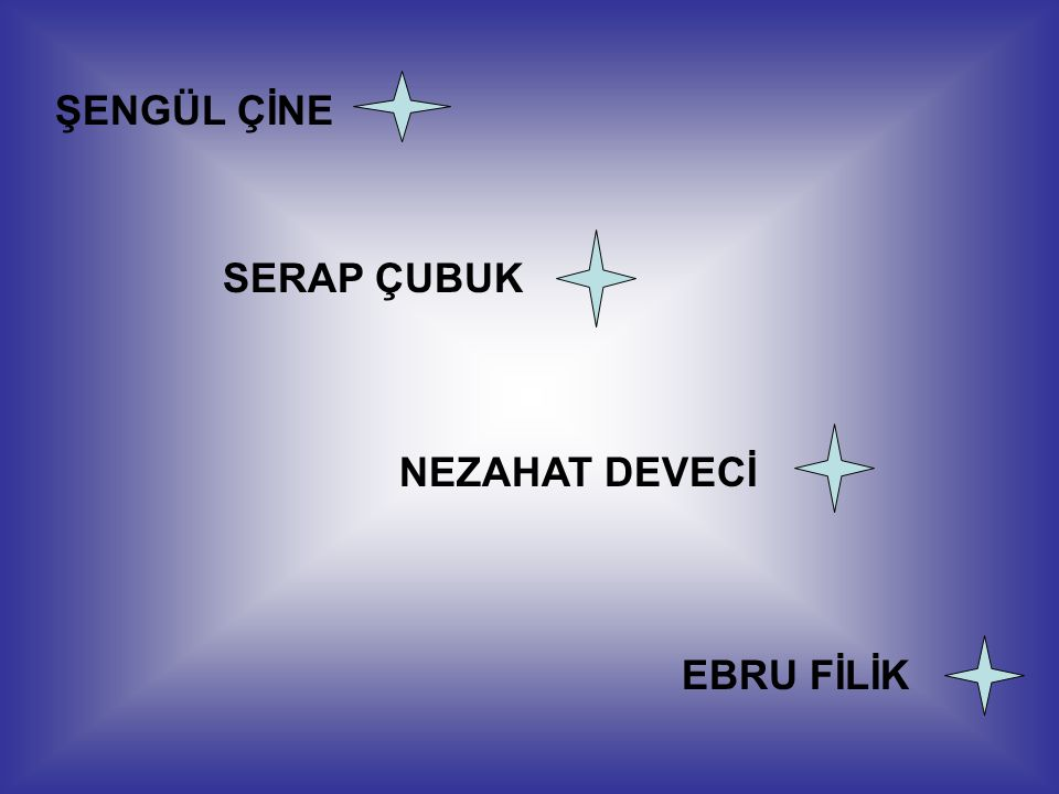 ŞENGÜL ÇİNE SERAP ÇUBUK NEZAHAT DEVECİ EBRU FİLİK