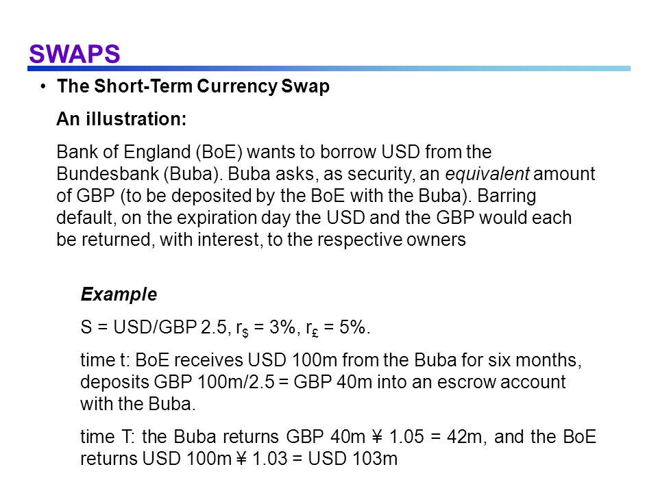 SWAPS The Short-Term Currency Swap An illustration:
