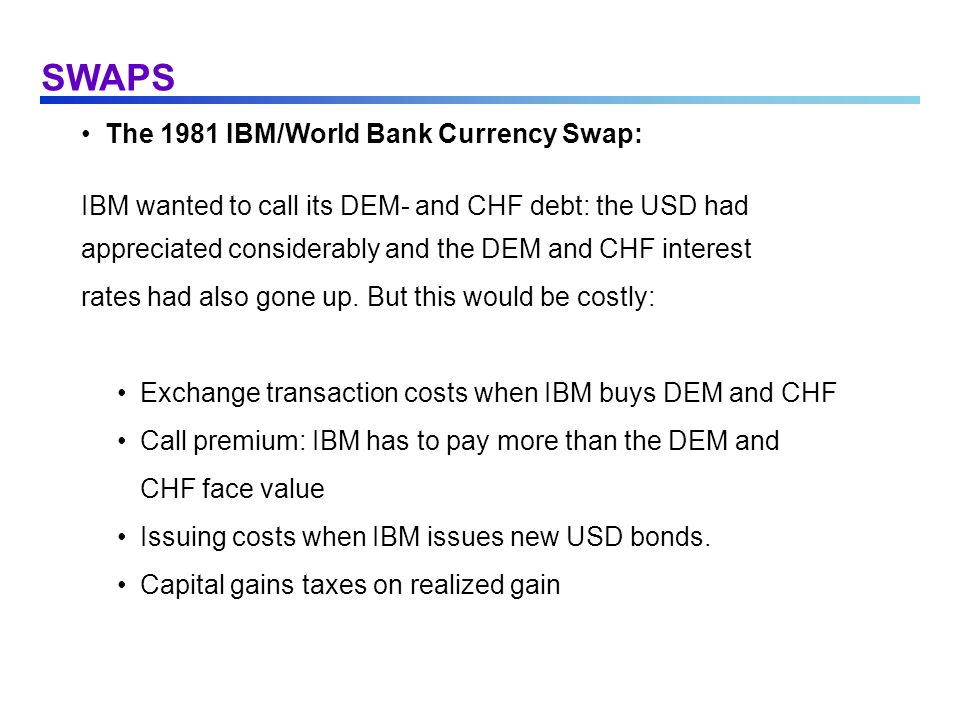 SWAPS The 1981 IBM/World Bank Currency Swap: