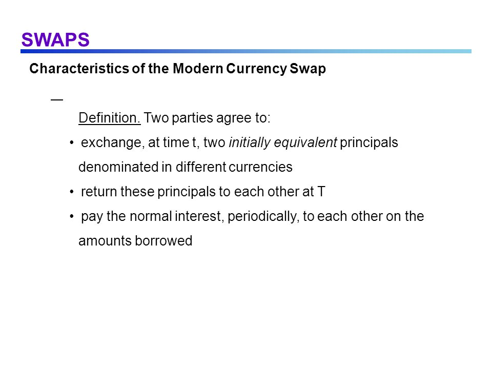 SWAPS Characteristics of the Modern Currency Swap
