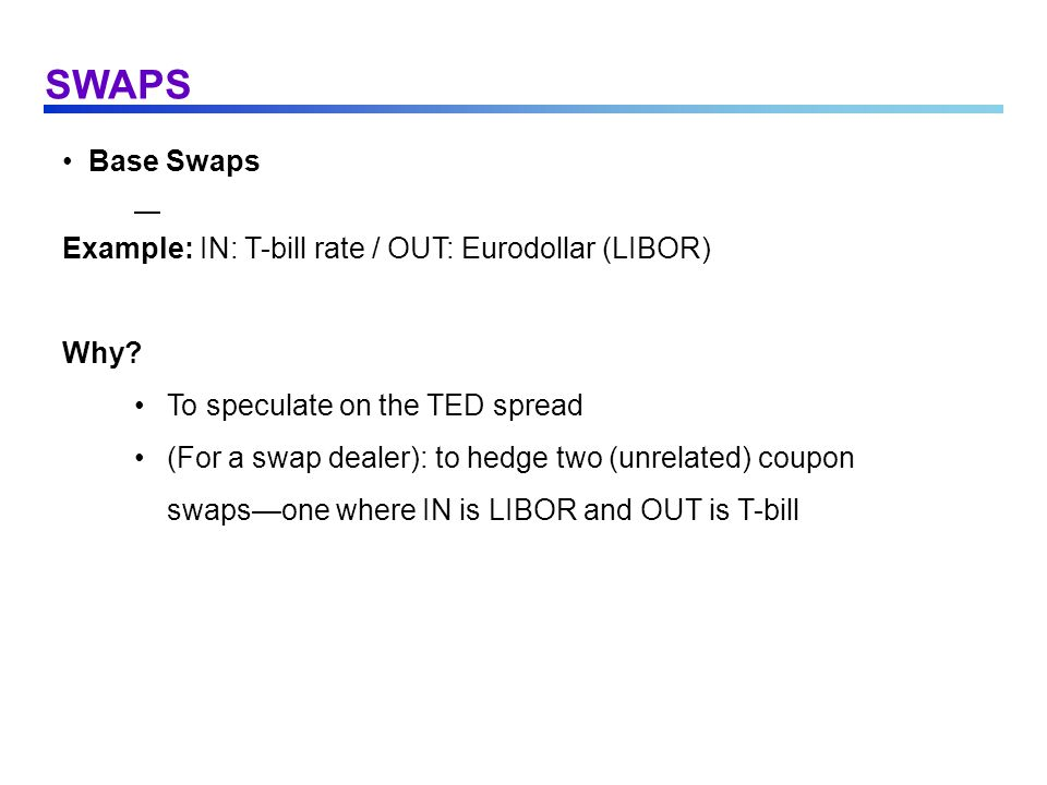 SWAPS Base Swaps Example: IN: T-bill rate / OUT: Eurodollar (LIBOR)