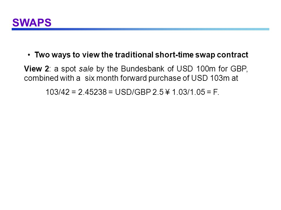 SWAPS Two ways to view the traditional short-time swap contract