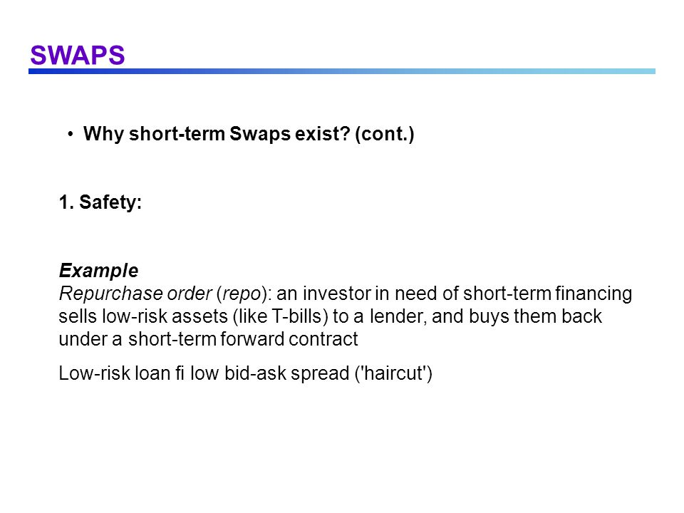 SWAPS Why short-term Swaps exist (cont.) 1. Safety: Example